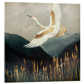Acrylic print  Elegant Flight of a Crane - SpaceFrog Designs