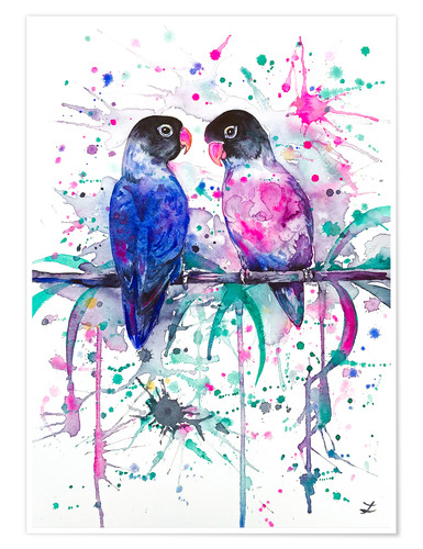 Premium poster Love is in the air! Lovebirds
