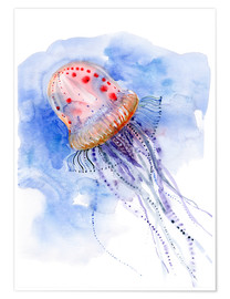 Premium poster  Jellyfish - deep sea diving - Verbrugge Watercolor