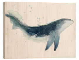 Wood print  Watercolor Whale - Déborah Maradan