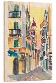 Wood print  Marvellous Corfu Streets in Greece - M. Bleichner