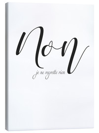 Canvas print  I do not regret anything (French) - Typobox