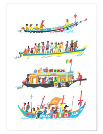 Premium poster Four African Boats