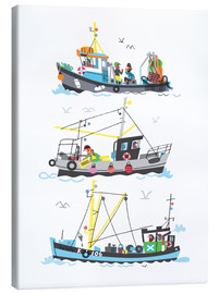 Canvas  Three Fishing Boats - Peter Allen