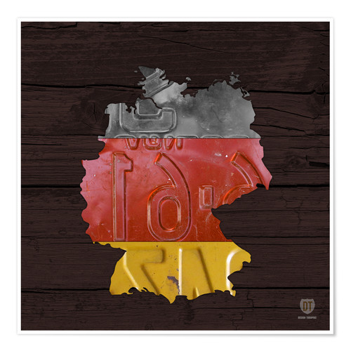 Premium poster Germany Map in License Plates
