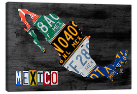 Canvas  License Plate Map of Mexico - Design Turnpike