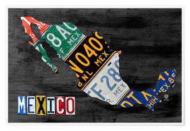 Premium poster License Plate Map of Mexico