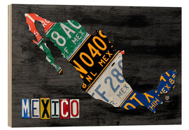 Wood  License Plate Map of Mexico - Design Turnpike