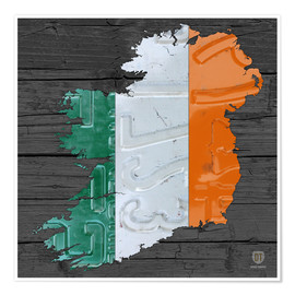 Premium poster Ireland License Plate Map