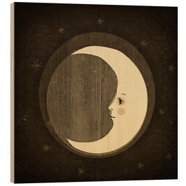 Wood print  Moon in the night - Little Miss Arty