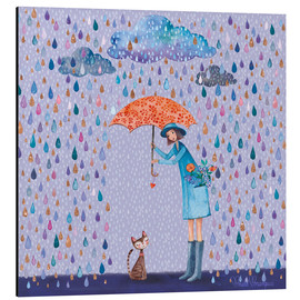 Alu-Dibond  It's raining, kitty - Mila Marquis