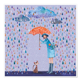 Poster  It's raining, kitty - Mila Marquis