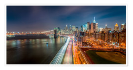 Premium poster New York Panorama Night Skyline
