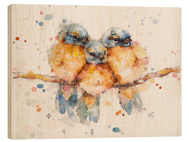 Wood print  Little bluebirds - Sillier Than Sally