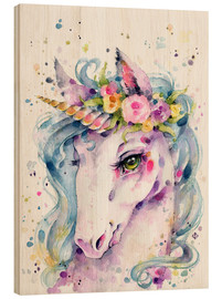 Wood print  Little unicorn - Sillier Than Sally