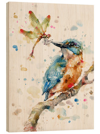 Wood print  Interesting relationships (kingfisher and dragonfly) - Sillier Than Sally