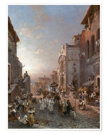 Premium poster  Procession train in Naples - Franz Richard Unterberger
