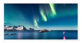 Premium poster Aurora Borealis over the ocean in Northern Norway