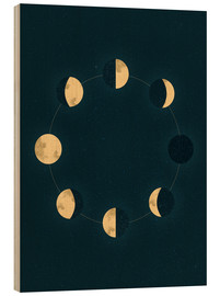 Wood print  Moon phases - Sybille Sterk