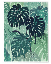 Premium poster Monstera Melt (in Green)
