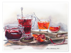 Premium poster Watercolor still life with Jam jars