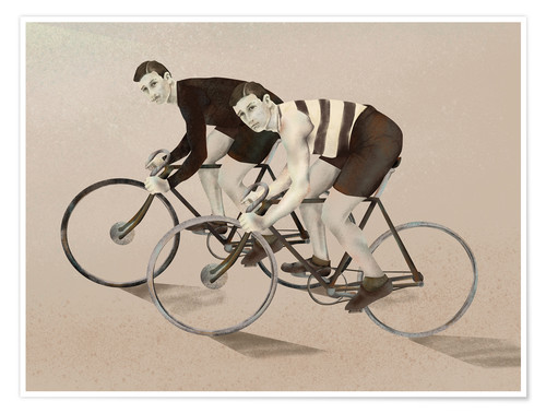 Premium poster twin cyclists