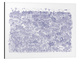 Alu-Dibond  Berlin Mitte blue - Cartoon City