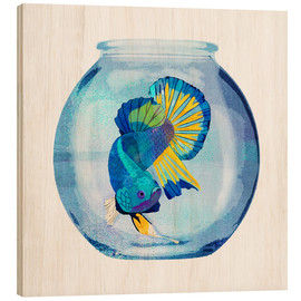 Wood print  Fish in the glass - Goed Blauw