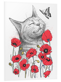 Foam board print  Cat in poppies - Nikita Korenkov
