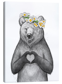 Canvas print  Girl bear with heart - Nikita Korenkov