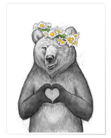 Premium poster  Girl bear with heart - Nikita Korenkov