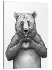 Aluminium print  Bear with heart - Nikita Korenkov