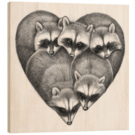 Wood print  Heart from raccoons - Nikita Korenkov