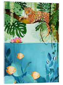 Acrylic glass  Leopard in the trees - Goed Blauw