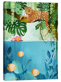 Canvas  Leopard in the trees - Goed Blauw