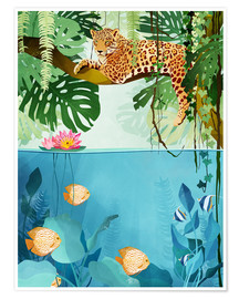 Premium poster  Leopard in the trees - Goed Blauw