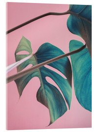 Acrylic print  Sweet pink monstera leaves - Emanuela Carratoni
