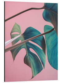 Alu-Dibond  Sweet pink monstera leaves - Emanuela Carratoni