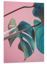 Foam board print  Sweet pink monstera leaves - Emanuela Carratoni
