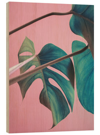 Wood print  Sweet pink monstera leaves - Emanuela Carratoni
