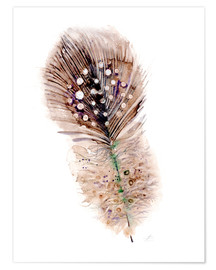 Poster  Feather brown - Verbrugge Watercolor