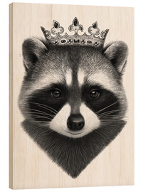 Wood print  King raccoon - Valeriya Korenkova