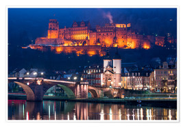 Premium poster  Castle and Old Bridge at night, Heidelberg, Baden-Wurttemberg, Germany - Jan Christopher Becke