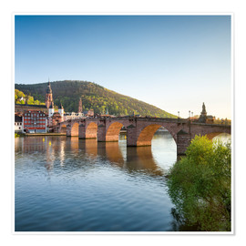 Premium poster Heidelberg Old Bridge in spring, Baden-Wurttemberg, Germany