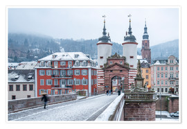 Premium poster Heidelberg Old Bridge in winter, Baden-Wurttemberg, Germany