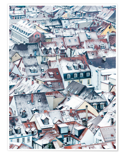 Premium poster Snowy rooftops in the old town of Heidelberg