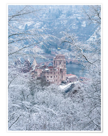 Premium poster  Castle in the snow, Heidelberg, Baden-Wurttemberg, Germany - Jan Christopher Becke