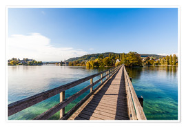 Premium poster  Bridge to the monastery Werd on Lake Constance in Switzerland - Dieterich Fotografie