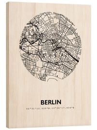 Wood print  City map of Berlin - 44spaces