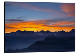 Aluminium print  Colorful sky at sunset over the Alps - Fabio Lamanna